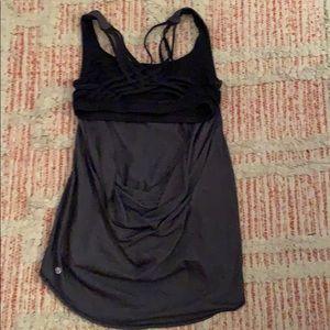 lululemon athletica Tops - Gray black LULULEMON open back Tank Top Size 6